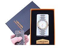 USB зажигалка с часами Белое золото в подарочной упаковке LIGHTER (Cпираль накаливания)