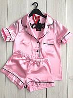 Рубашка и шорты , розовая атласная женская пижама.