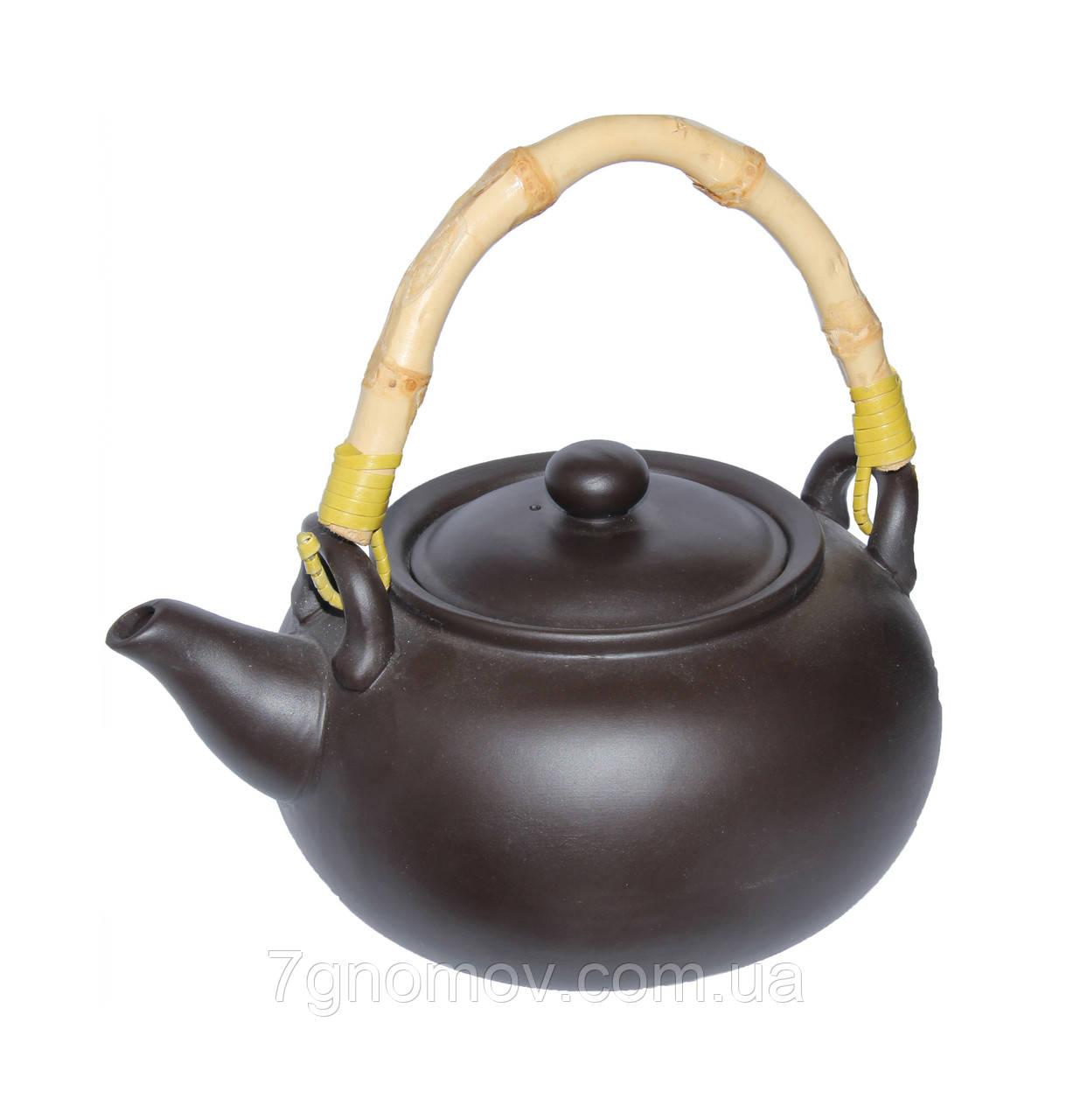 """Глиняный чайник с бамбуковой ручкой """"Черное золото"""" 950 мл"""