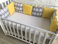 Защита в кроватку, бортики подушки «Африканские Слоники»