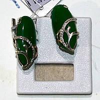Сережки срібні з хризопразом та золотими пластинами