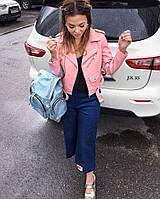 Женская короткая кожаная куртка на молнии. Ткань: эко-кожа. Размер: 42, 44, 46.