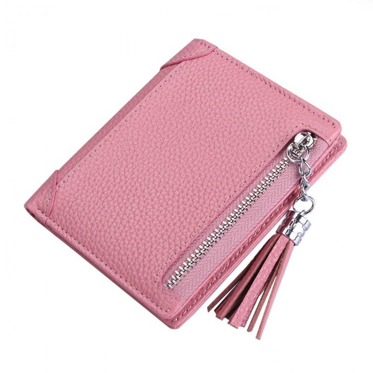 Кошелек женский кожаный Zuoedanni светло-розовый eps-4059
