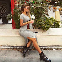 Платье миди с разрезом, короткий рукав, за колено