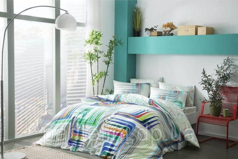 TAC Illusion blue Бамбук  евро постельное белье