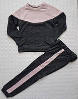 Модный прогулочный костюм для девочки КОМБИНАЦИЯ р.134-152 черный+ пудра