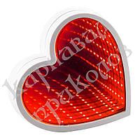Бесконечное зеркало USB Infinity Mirror Сердце (красный)
