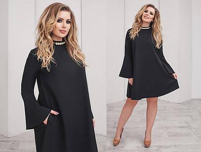 Свободное платье с украшением. Чёрное 541ec0edf1365