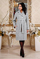 Элегантное классическое пальто с отложным воротников в клеточку Шанель-люрекс 44-54 размеров, фото 1