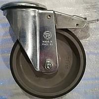 Колесо полипропилен/серая резина с тормозом D125 мм