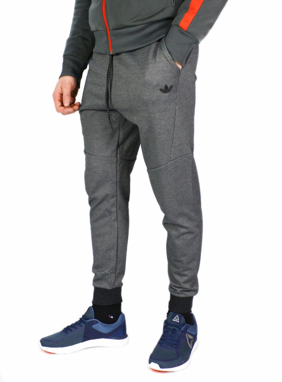 Серые мужские спортивные штаны с манжетами ADIDAS