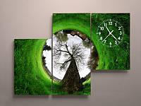 Картина с часами на холсте Дерево