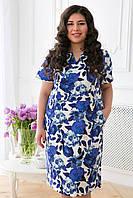 Летнее платье с коротким рукавом и косыми карманами коттон цветочный принт размеры 56 58 60 62