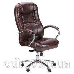 Кресло Мустанг MB Хром Мадрас дк браун, вставка Мадрас дк браун перфорированный 263611