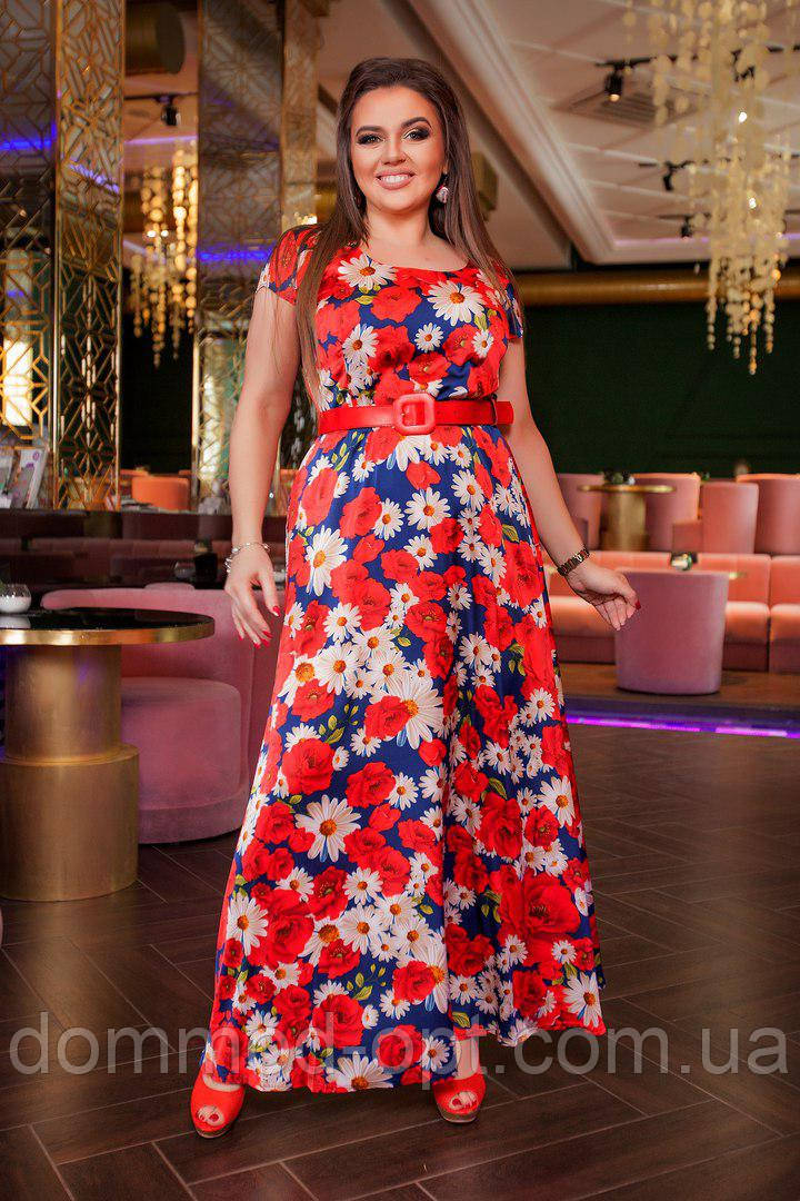 Женское длинное летнее платье 281 \ синий