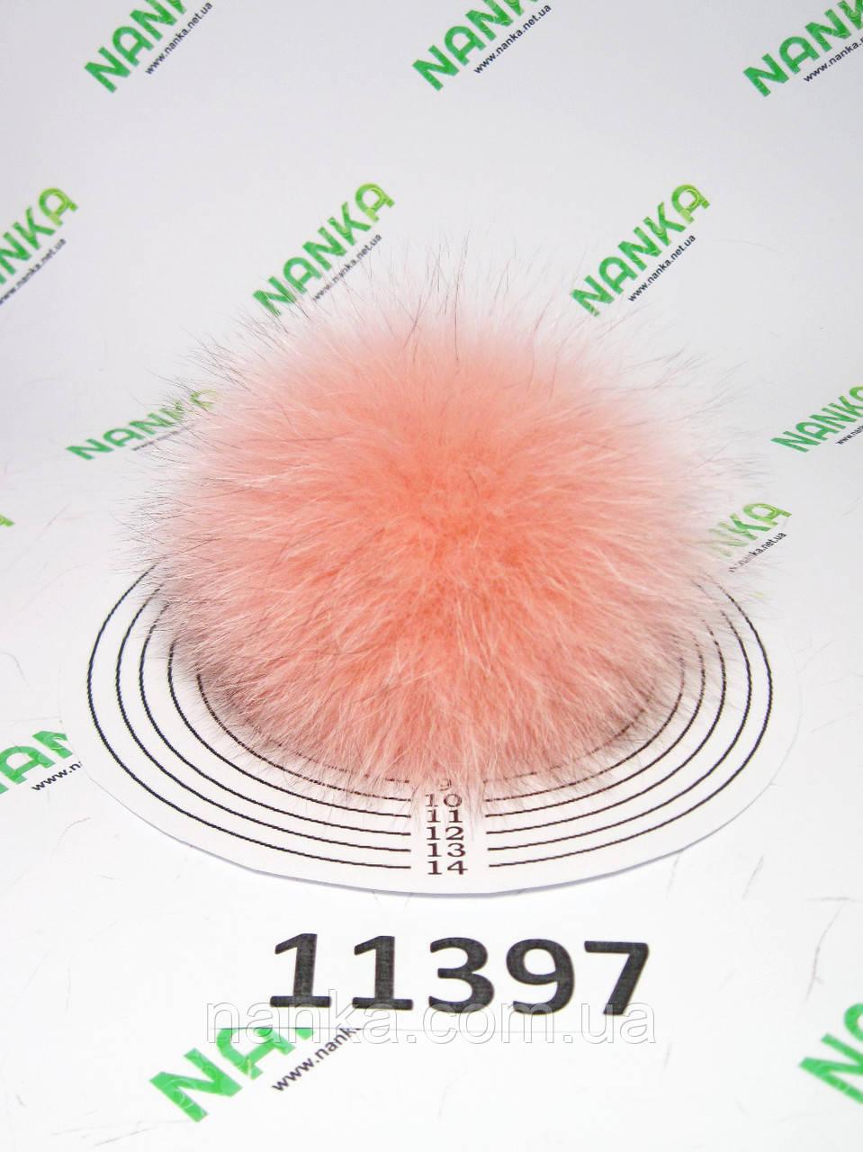 Меховой помпон Песец, Роза, 10 см, 11397