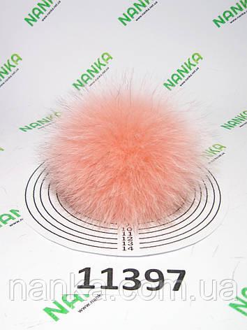 Меховой помпон Песец, Роза, 10 см, 11397, фото 2