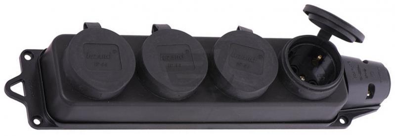 Розетка наруж. уст-ки 4-ая с заглушками 2Р+РЕ 1х16А 220-240V (каучук)