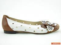 Летние женские балетки кожаные белые польша Aga 1148
