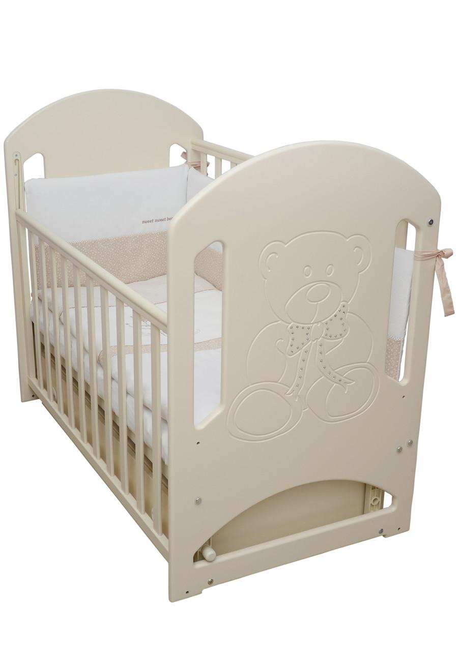 Детская кроватка Верес соня ЛД8 120*60 маятник с ящиком сл. кость Мишка со стразами