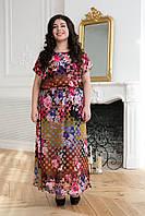 Шифоновое длинное платье ФАННИ коричневое (54-60)