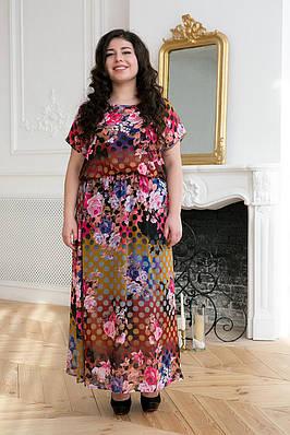 9724d9a5b1e Шифоновое длинное платье ФАННИ коричневое (54-60) - цена 520 грн. Купить в  Украине - интернет магазин FaShop