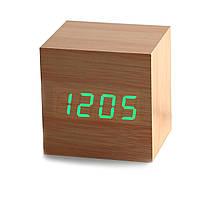 Бамбуковые часы-будильник с термометром, фото 1