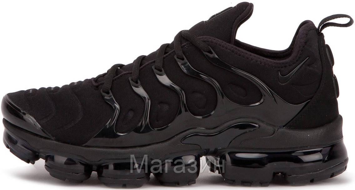 Мужские спортивные кроссовки Nike Air VaporMax Plus Black (в стиле Найк Вапормакс Плюс) черные