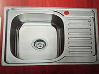 Врезная кухонная мойка Platinum 63*50*18 Satin 0.8 , фото 1