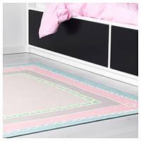 ВАНСКАПЛИГ Ковер, розовый, бирюзовый, 133x133 см 70338461 IKEA, ИКЕА, VÄNSKAPLIG