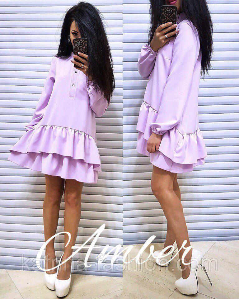 Женское стильное платье-трапеция с рюшами (6 цветов)