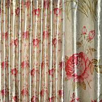 Блэкаут (светонепроницаемые шторы) светлая серый с красными розами и букет.цвет ш.275