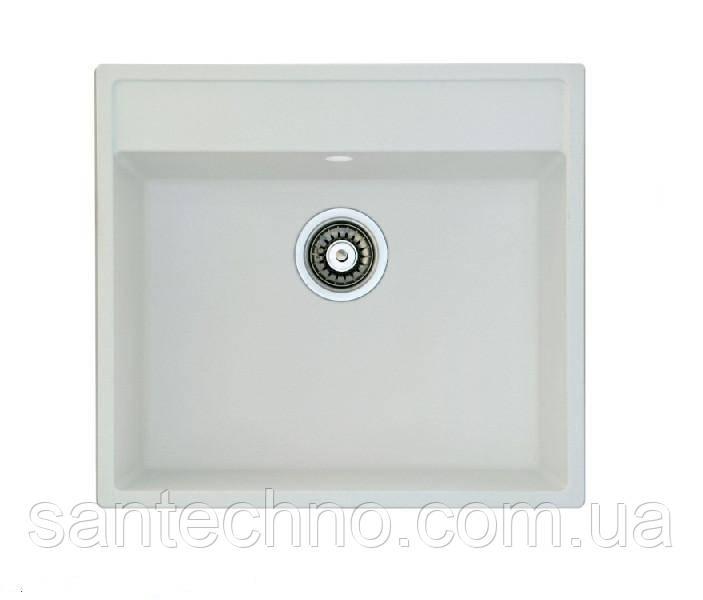 Гранітна прямокутна мийка для кухні(біла) Fabiano Quadro 56*51 Alpine White