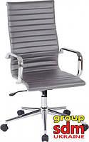 Кресло офисное Алабама НNEW, высокая спинка, кожзам, механизм качания, кожзам серого цвета ALAB-HGREY