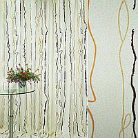 Креп ткань Шторы портьерная ткань кремовый с корич золот серпантин и точками с блестками ш.280