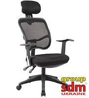 Кресло офисное Бриз, спинка сетка, сиденье кожзам, цвет черный BRIZBL