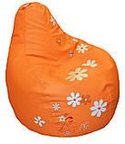 Кресло-мешок, груша пуф Ромашки бескаркасные пуфики, фото 2