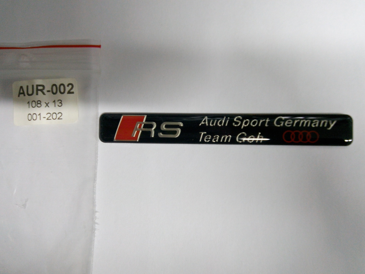 Силиконовая 3D наклейка RS audi sport company  108х13 мм