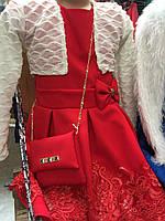 Платье для девочки с бантиком и сумочкой