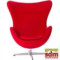 Кресло Эгг (Egg), мягкое, ткань, основание металл, цвет  красный SDMEGGRE