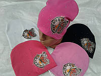 Шапка демисезонная для девочки 52-54 р бабочка розового, белого, малинового цвета оптом