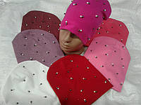 Шапка демисезонная для девочки 52-54 р бусинки розового, белого, малинового цвета оптом