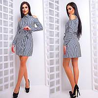 Стильное платье-туника в полоску с вырезами на плечах 42-44 р