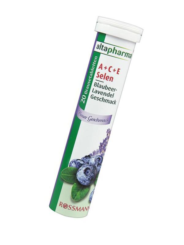 Витамины Altapharma A + C + E + Selen ЧЕРНИКА шипучие таблетки (84г/20шт.) Германия