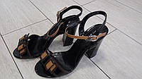 Женские черные босоножки с бантиком на каблуку супер качества, фото 1