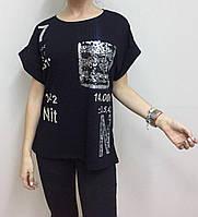 Летняя женская турецкая футболка с карманом в пайетках черная