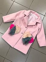 Демисезонное пальто на девочку кашемир на карманах мех размеры 86-92 98-104 110-116 122-128