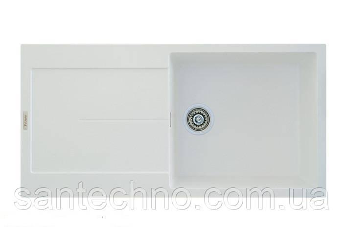 Мийка кухонна з великим крилом біла Fabiano Quadro 100x50 Alpine White