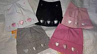 Шапка демисезонная для девочки 42-44 р сердечки розового, белого,черного, серого цвета оптом