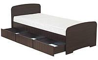 Кровать односпальная К-90С 3ЯДСП с 3 ящиками  серия Модерн  (Абсолют) 980х2030х800/600мм